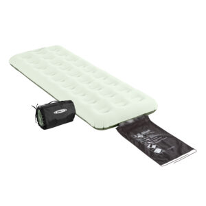 "Individual (twin) Coleman Quickbed with built-in Wrap ""N' Roll storage system."