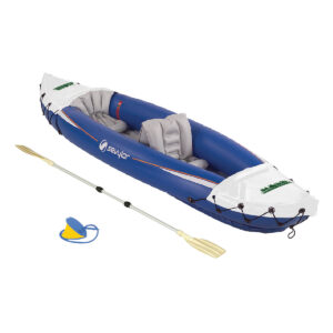 Blue/White 2 Person Kayak including the Pump & Paddle with a 1 color imprint in two locations on the Kayak