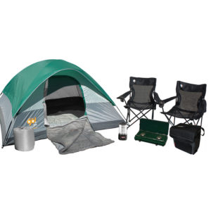 Getaway Camping Package with one Coleman Go! 4-person Tent, one BatteryGuard Lantern 200L, two mesh quad chairs, two Bryce Warm Weather Sleeping Bags, one 54-Can Collapsible soft cooler, and one 2 Burner Propane Stove