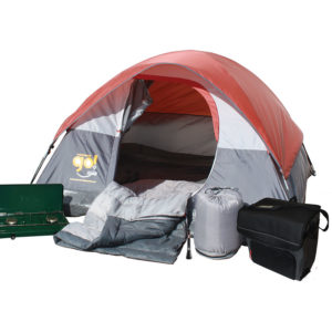 Weekender Camping Package with one Coleman Go! 3-person tent, one 2 Burner Propane Stove, two Bryce Warm Weather Sleeping Bags, one BatteryGuard 50M LED Flashlight, and one 54-Can Collapsible Soft Cooler