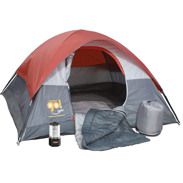 Overnighter Camping Package with one Coleman Go! 3-person tent, two Bryce Warm Weather Sleeping Bag, and one BatteryGuard Lantern 600L