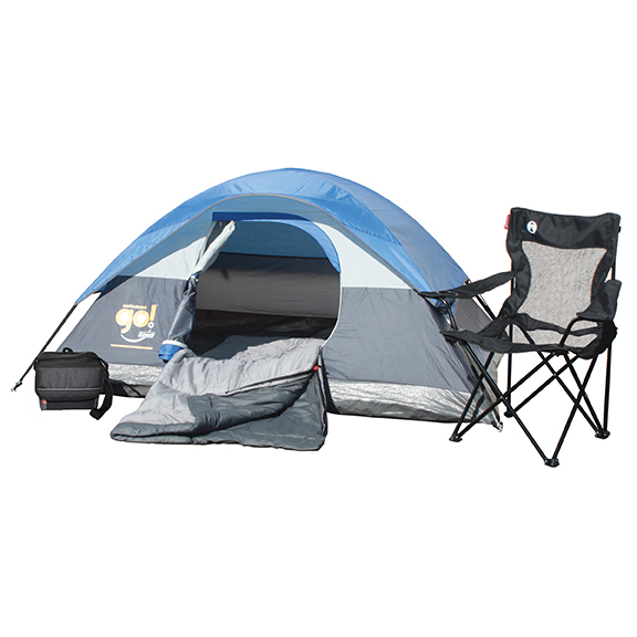 2-Person Go! Tent, 9-Can Collapsible Cooler, Mesh Quad Chair, and Bryce Warm Weather Sleeping Bag.