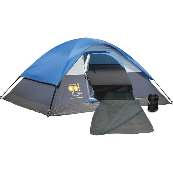 Warm Weather Camping Package with one Coleman Go! 2-person tent (blue) and two gray Stratus Fleece Sleeping Bags