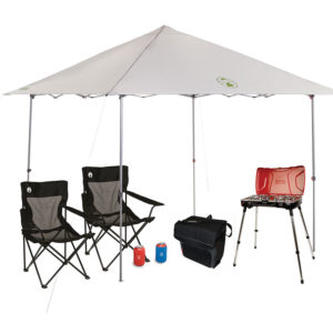 Major League Tailgating Package with One Coleman Fyremajor 3n1 Propane Stove/Grill, One 10x10 Shelter, One 54-Can Collapsible Soft Cooler, two Mesh Quad Chair, two Can Koozie