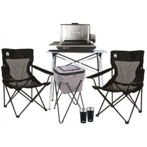 Deluxe Tailgating Package with one Table Top Propane Grill, One Compact Tailgating Table, One Soft Portable Party Cooler, Two Mesh Quad Chairs, and Two 20 oz Brewski