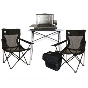 Tailgating Essential Package with One Table Top Propane Grill, One Compact Tailgating Table, One 34-Can Collapsible Soft Cooler, and Two Mesh Quad Chairs