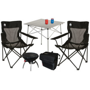 Super Fan Tailgating Package with two Mesh Quad Chiar, two can coozie, one 34-Can Collapsible Soft Cooler, one Compact tailgating table, and one RoadTrip Party Grill