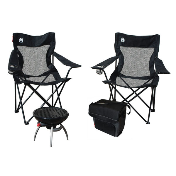 All American Tailgater with one RoadTrip Party Grill, two mesh quad chairs, and one 34-can Collapsible soft cooler