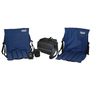 Two Stadium Seats, 9-Can Collapsible Soft Cooler, and 10x25 Coleman Binoculars.
