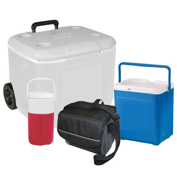 Coleman Cooler Package with White 60 Qt Wheeled Cooler, Blue 20 Can Stacker, Black 9-can Collapsible Soft Cooler, and Red 2 Liter Jug.