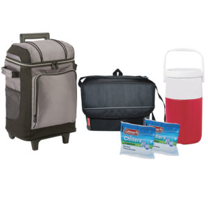 Soft Sided Deluxe Cooler Package features one 2 liter jug, 18-can collapsible soft cooler, 42 wheeled soft sided cooler with liner, two chiller lunch pack ice substitute