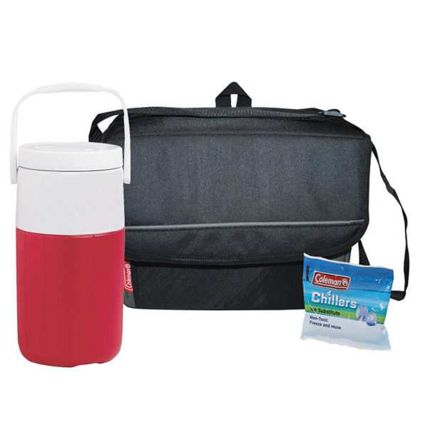 Soft Sided Cooler Package features one 2 liter jug, 18-can Collapsible soft cooler, and chiller lunch pack ice substitute
