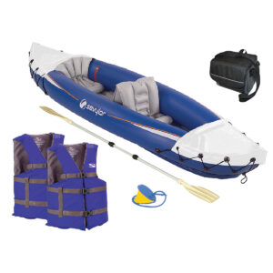 Fun on the Water Package with kayak, oar, pump, life vests and cooler