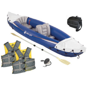 Fun on the Water Package with one two person Kayak with pump & paddle, two adult boating vest, one 9-can collapsible soft cooler