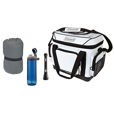 Coleman Essentials Package featuring One Gray Stratus Fleece Sleeping Bag, One white 36 house marine cooler, one BatteryGuard 50M LED Flashlight, and one Blue Chug Hydration bottle 24 oz