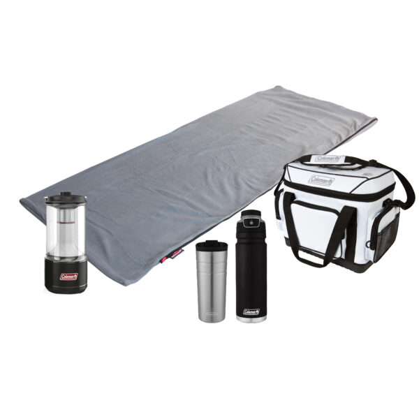 Stratus Fleece Sleeping Bag, 36 Hour Marine Cooler, 200L BatteryGuard Lantern, One FreeFlow Hydration Bottle, One FlipLid Thermal Cup.