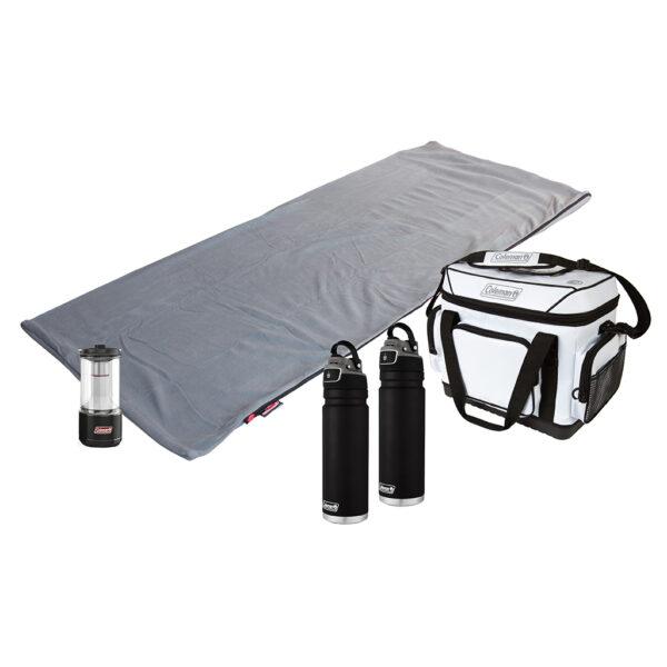 Stratus Fleece Sleeping Bag, 36 Hour Marine Cooler, 200L BatteryGuard Lantern, Two FreeFlow Hydration Bottle.