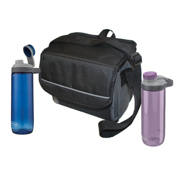 His & Hers Chug & Chill Package with 1 9-can Collapsible soft cooler, one purple Chug Hydration Bottle 24 oz, and one blue Chug Hydration Bottle 24 oz.