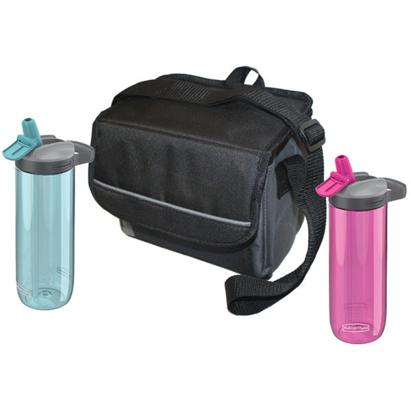 His & Hers Sip & Chill Package features one 9-Can Collapsible soft cooler, one pink Sip Hydration Bottle 24 oz, and one blue Sip Hydration bottle 24 oz