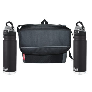 Two black FreeFlow Hydration Bottles and one black 18-can Collapsible Soft Cooler.