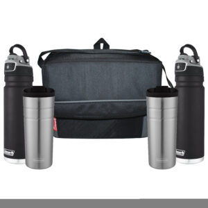 Two black FreeFlow Hydration Bottles, two Thermal Cups and one black 18-can Collapsible soft cooler.