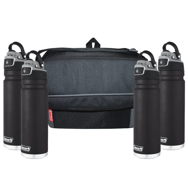Four black FreeFlow Hydration Bottles and One black 18-can Collapsible soft cooler.