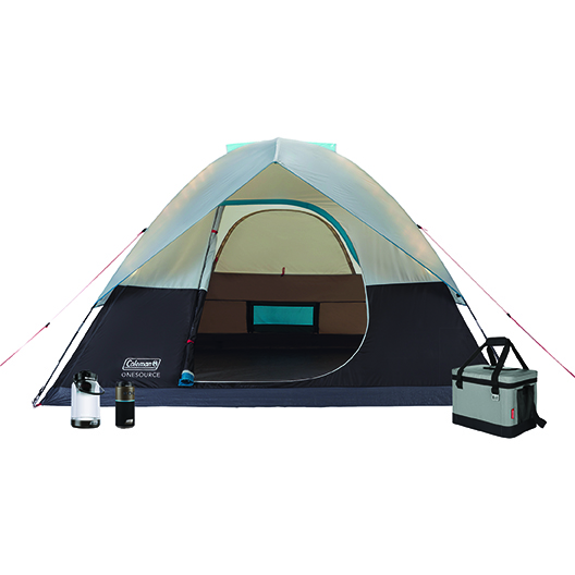 4-Person OneSource Dome Tent, 30-Can Klondike Soft Cooler, OneSource 600L Lantern, and OneSource Bluetooth Wireless Speaker
