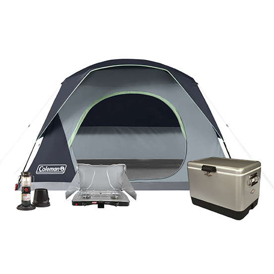 6-Person Skydome Tent, 54Qt Steel Belted Cooler, QuickPack Deluxe Propane Lantern, and 2-Burner Triton Propane Stove
