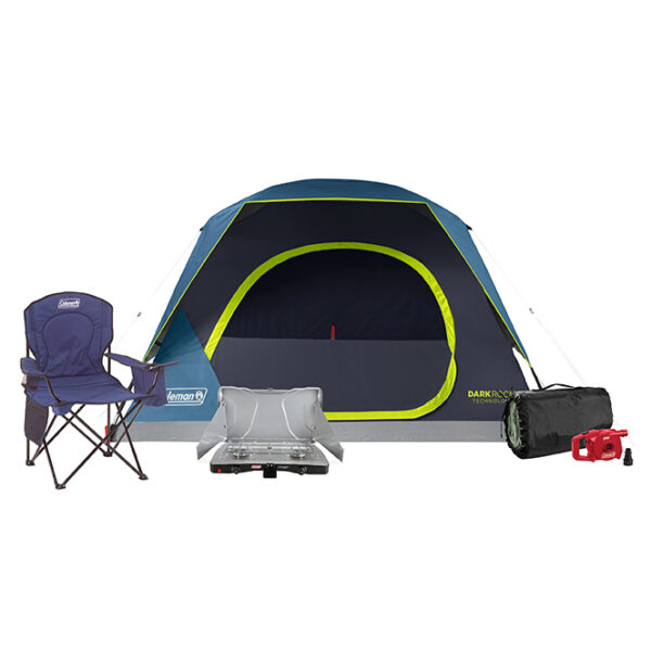 4-Person Skydome Darkroom, Blue Cooler Quad Chair, Queen Quickbed with pump, and 2-Burner Triton Stove.
