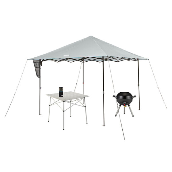 10x10 Onesource Eaved Shelter, 4in1 Portable black stove, Portable Onesource Speaker, and Compact outdoor table.