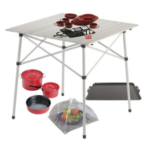Compact Outdoor Table, Red 4-Person Dinner Set, Red Enamel Cookware Set, Aluminum Nonstick Griddle, and Food Cover.