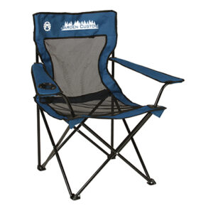 Blue Mesh Quad Chair with pocket with screen print on the front