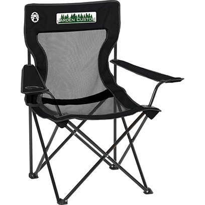 Black Mesh Quad Chair with pocket Full Color Transfer on the Front