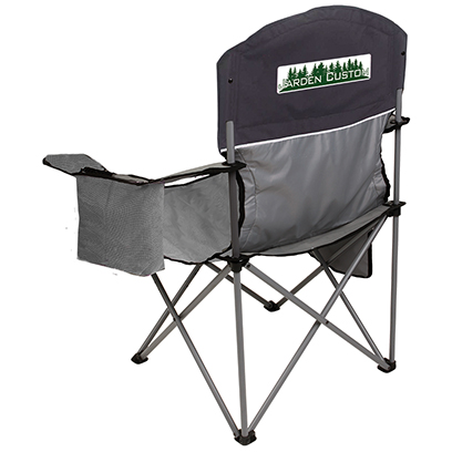 Black/Gray Cooler Quad Chair with Full Color Transfer on the back