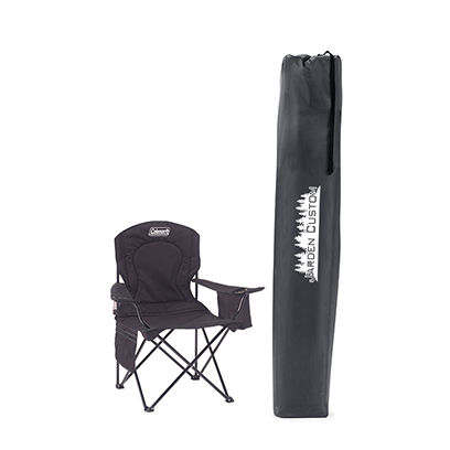 Black Cooler Quad Chair with Screen print on the bag