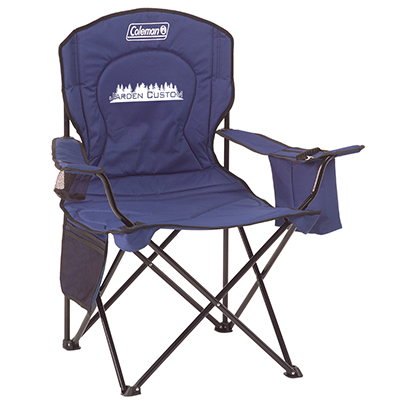 Blue Cooler Quad Chair with Screen Print on the front