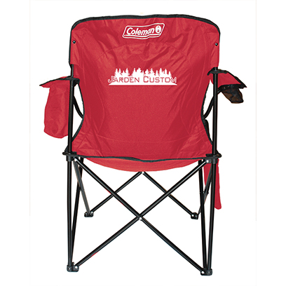 Red Cooler Quad Chair with screen print on back