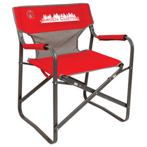 Red Steel Deck Chair with Mesh Back with Screen Print on Front