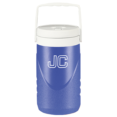 Coleman 1/2 beverage cooler with single color screen print of Jarden Custom abbreviations