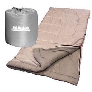 Gray Warm Weather Sleeping Bag with Wrap N Roll has Screen Print on Bag