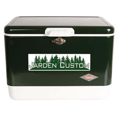 Green 54 Qt Steel Belted Cooler Decal Front