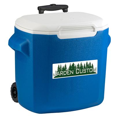 Blue 28 Qt Wheeled Cooler - Decal