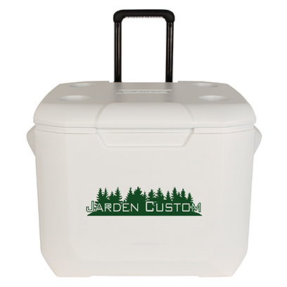 White 60 Qt Wheeled Cooler - Screen Front