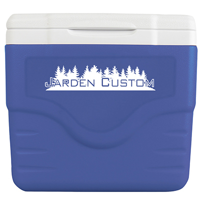 Blue 9 Qt Excursion Cooler with White Screen Print