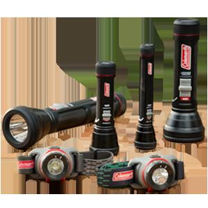 coleman flashlights and headlamps grouping
