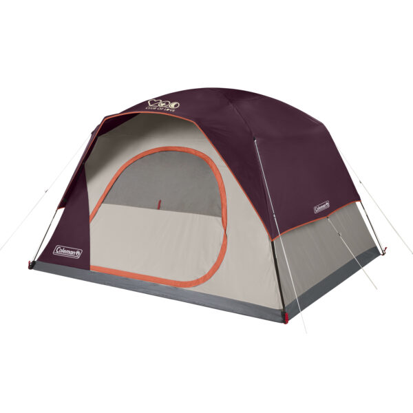 Maroon 6-Person Skydome Coleman Tent with screen.