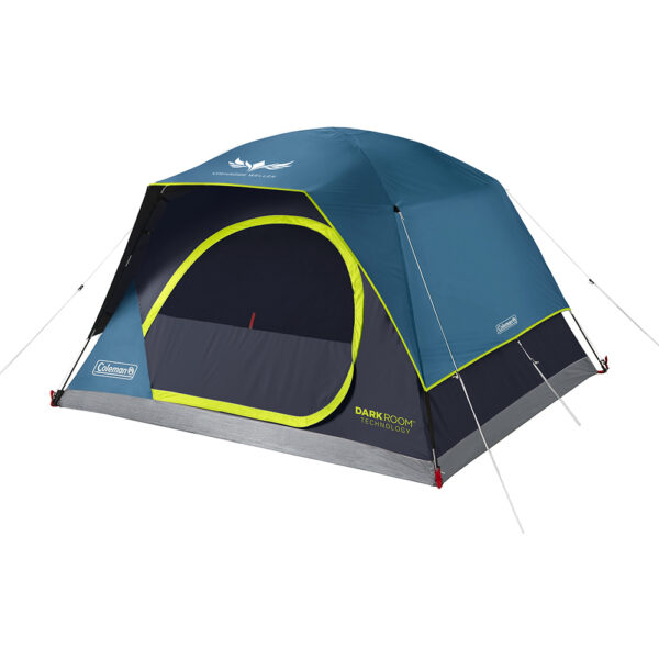 Blue 4-Person Coleman Dark Room Skydome Tent with screen print.