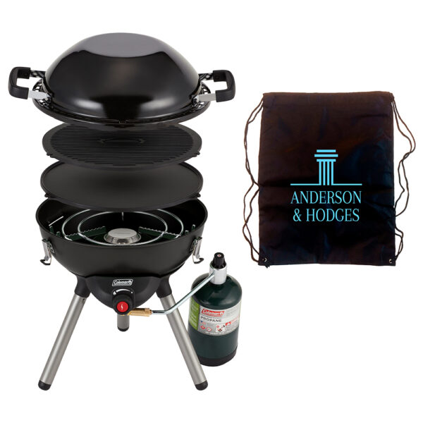Black Coleman 4-1 Portable Propane Cooking System. Features three interchangeable cook top inserts (stove, wok and reversible griddle/grill). Removable legs and cook top inserts fit inside inverted wok for easy storage within the draw string carrying bag. Screen print placed on the draw string carrying bag.