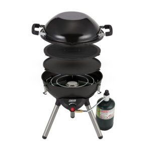 Black Coleman 4-1 Portable Propane Cooking System. Features three interchangeable cook top inserts (stove, wok and reversible griddle/grill). Removable legs and cook top inserts fit inside inverted wok for easy storage.