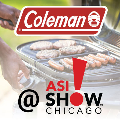 Coleman Co Inc logo with ASI Show Chicago logo. Coleman Roadtrip grill in the background with man cooking hamburgers and hotdogs.